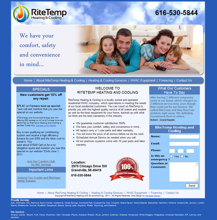 Heating And Cooling Hvac Websites Heating Amp A C Company