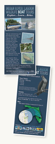 Rack Card design and print for Indian River Lagoon Boat Tours, Fort Pierce, Florida